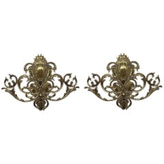 20th Century Pair of Two Lights Baroque Bronze Sconces with Bronze Lampshades