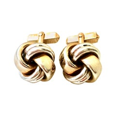 "20th Century Pair Of Two Tone Silver & Gold ""Love Knot"" Cufflinks By, Swank"