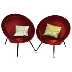 20th Century Pair of Vintage Red Italian Armchairs Cassina'?'