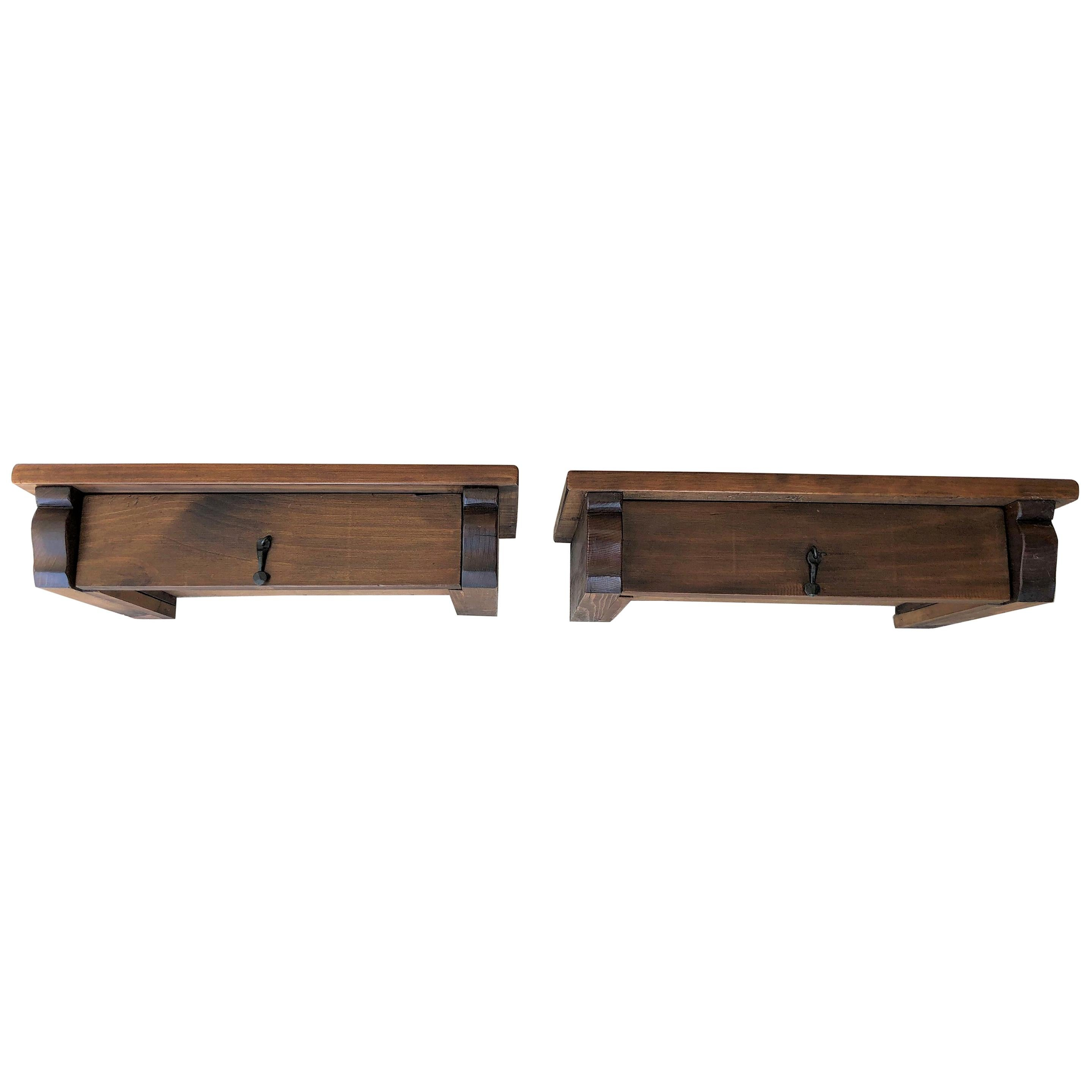 20th Century Pair of Wall Hang Floating Tables with Drawer and Iron Hardware