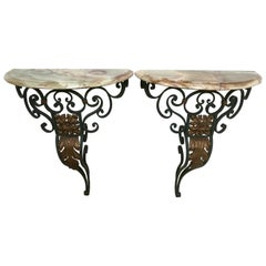 20th Century Pair of Wall Mounted Console Tables