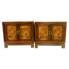 20th Century Pair of Walnut & Burl Wood Oriental Nightstands by, John Widdicomb