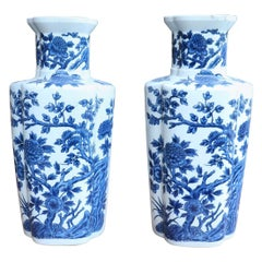 20th Century Pair of White Ceramic Vases with Blue Floral Decorations