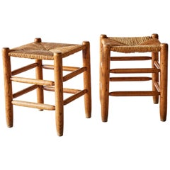 20th Century Pair of Wood Stools with Rush Seats