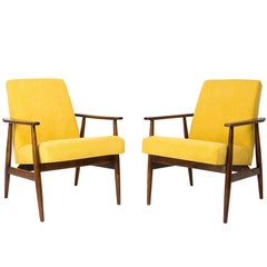 20th Century Pair of Yellow Dante Armchairs, H. Lis, 1960s.