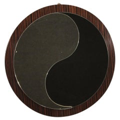 20th Century Palisander Wood Italian Design Round Mirror, 1970