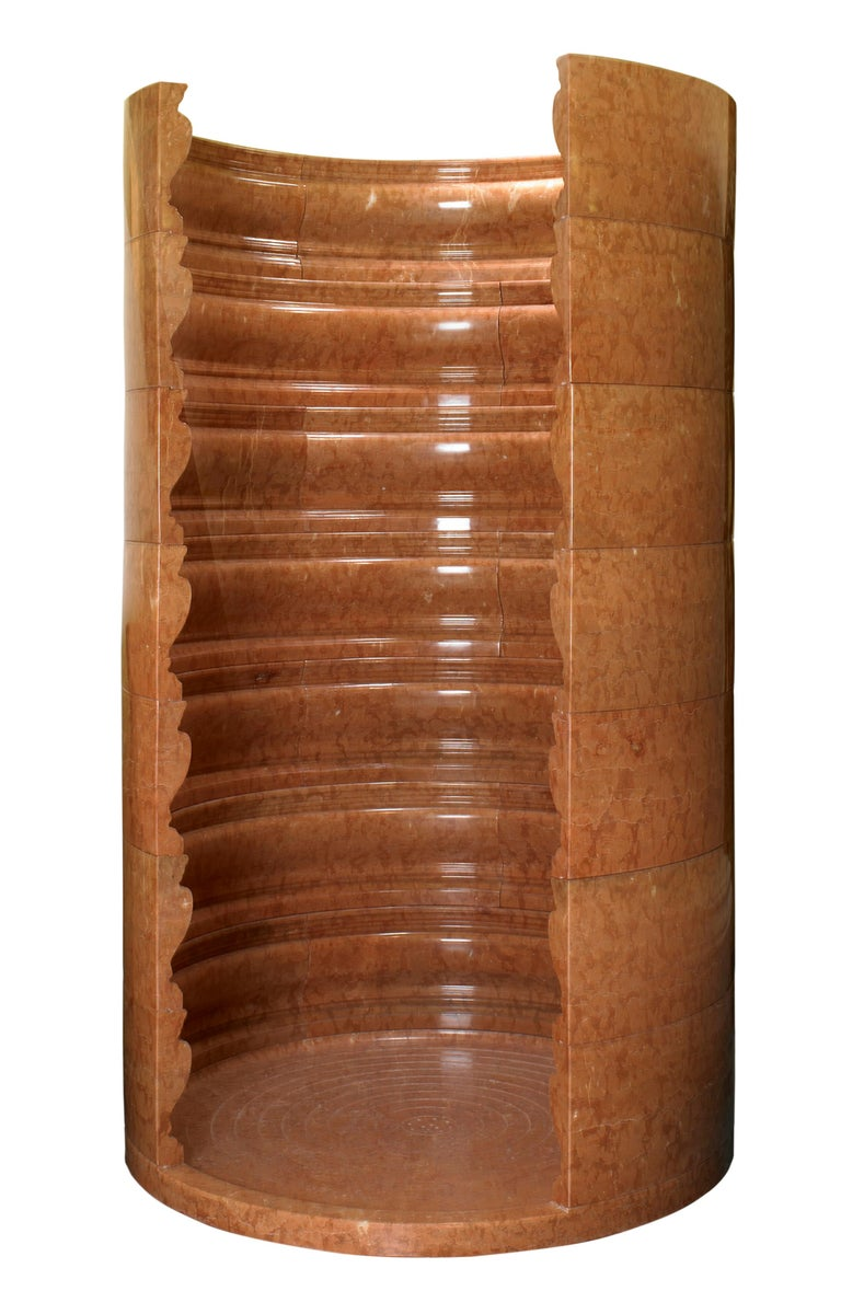 Carved 20th C Palladio Inspired Rosso Verona Marble Shower Enclosure For Sale
