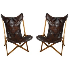 20th Century Paolo Viganò Tripolina Folding Armchairs in Leather and Wood, Pair