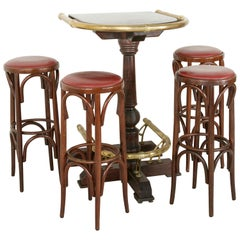 20th Century Paris Brasserie High Top Table with Brass Rails and Four Bar Stools