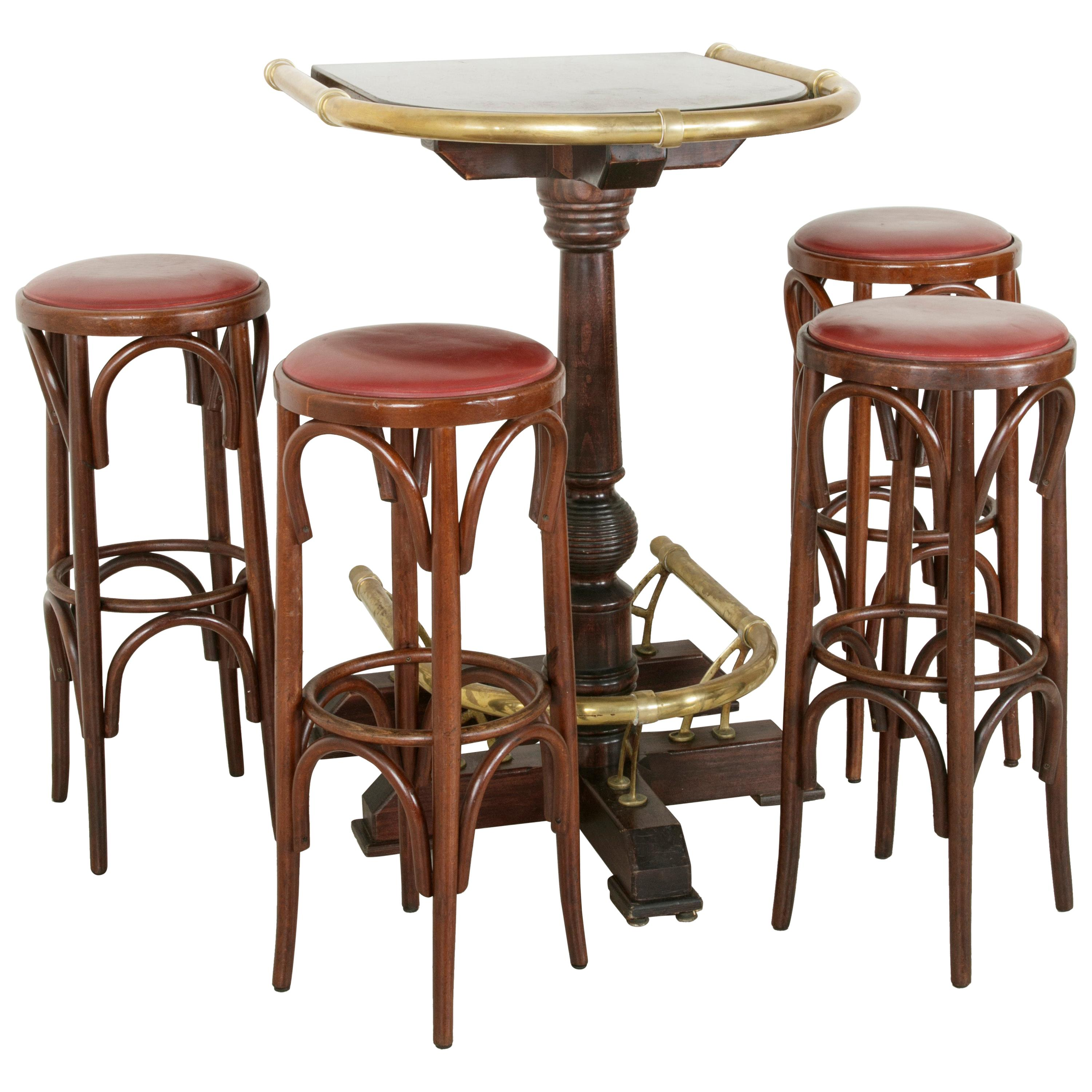 20th Century Paris Brasserie High Top Table With Brass Rails And Four Bar  Stools For Sale