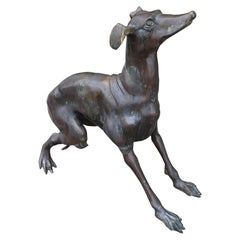 20th Century Patinated Bronze Whippet Dog