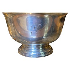 20th Century Paul Revere Sterling Silver Bowl for Cartier, Engraved T, Marked