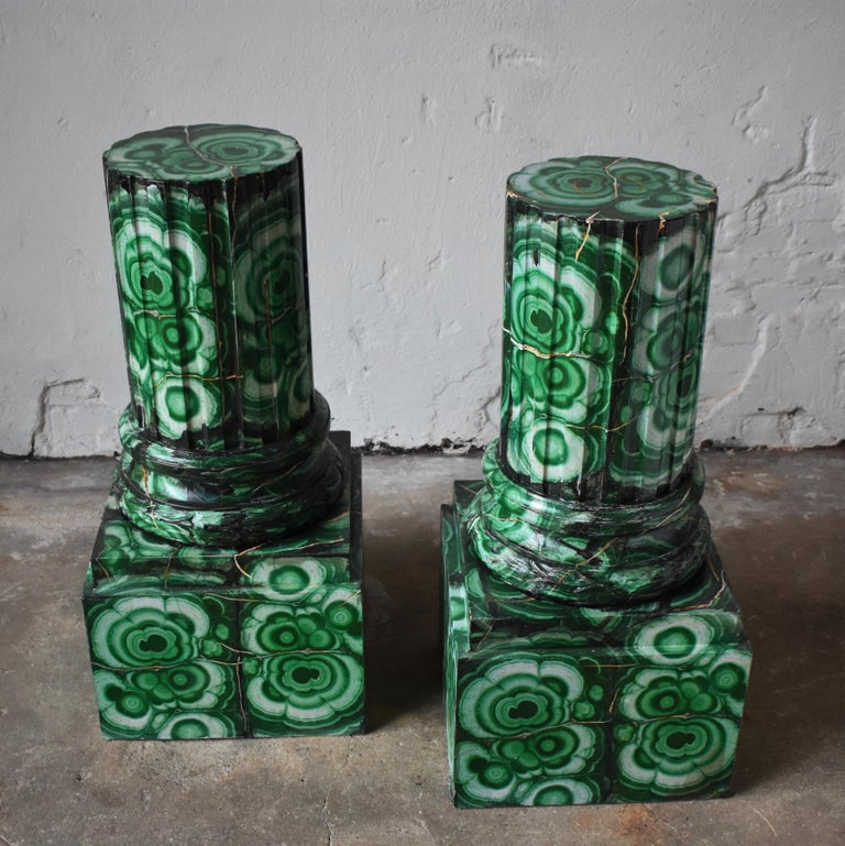 20th century pedestals in Gustavian style Imitation painted as Malachite 