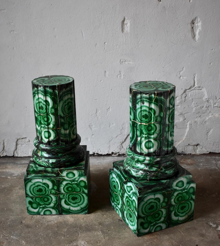 Swedish 20th Century Pedestals in Gustavian Style Imitation Painted as Malachite For Sale
