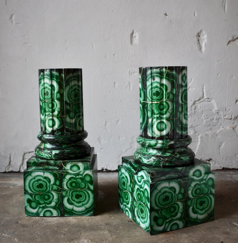 Hand-Painted 20th Century Pedestals in Gustavian Style Imitation Painted as Malachite For Sale