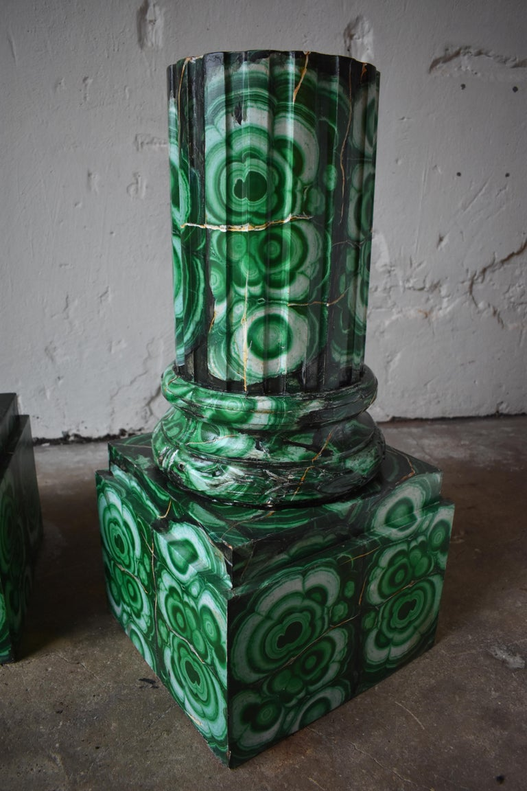 20th Century Pedestals in Gustavian Style Imitation Painted as Malachite In Excellent Condition For Sale In Helsingborg, SE