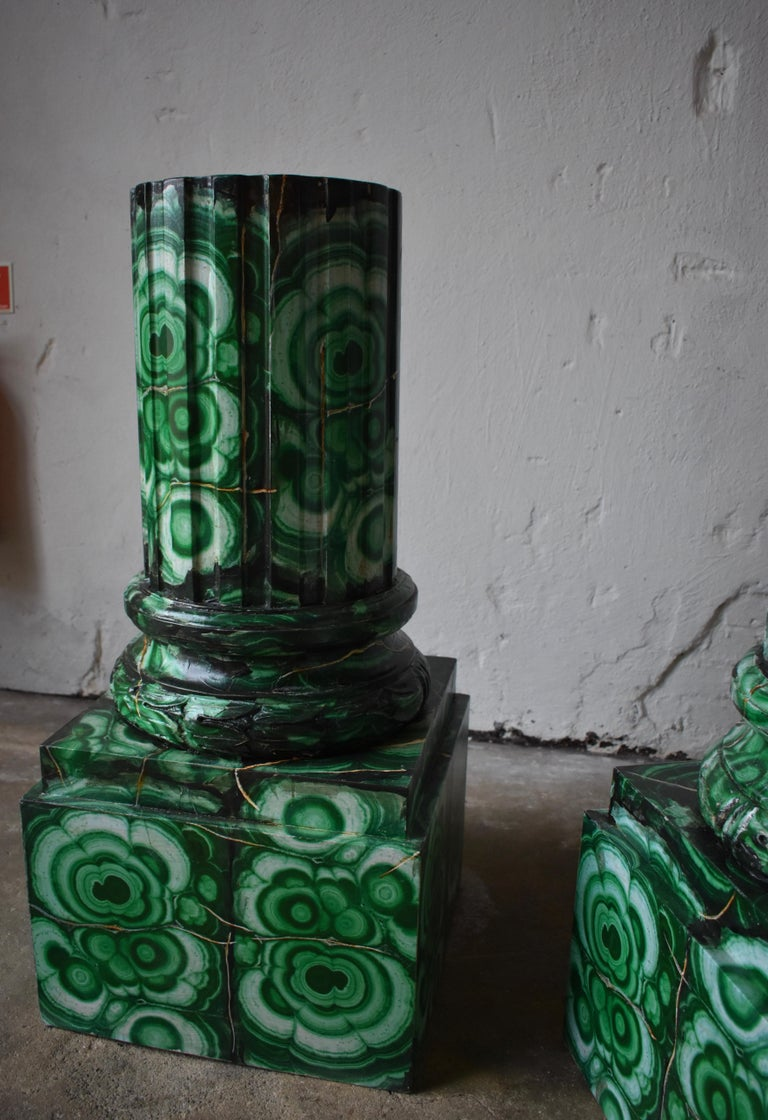 Wood 20th Century Pedestals in Gustavian Style Imitation Painted as Malachite For Sale