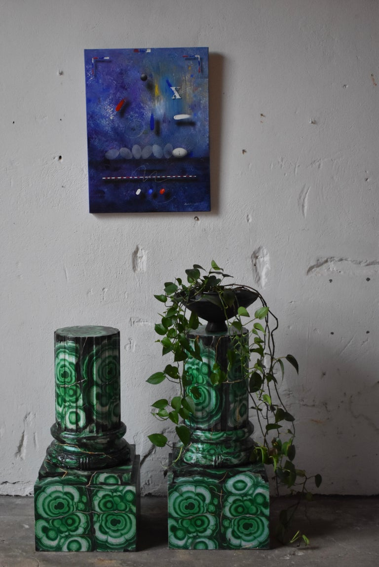 20th Century Pedestals in Gustavian Style Imitation Painted as Malachite For Sale 1