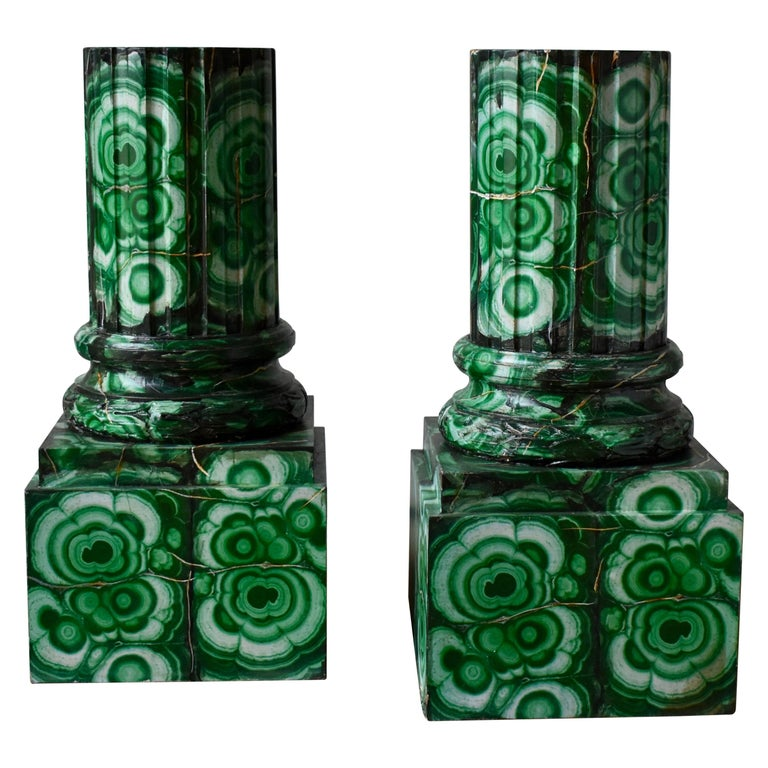 20th Century Pedestals in Gustavian Style Imitation Painted as Malachite For Sale