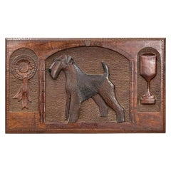 20th Century Pedigree Airedale Terrier Relief Carved Best in Show Panel