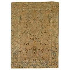 20th Century Persian Tabriz Gold Beige and Azure Handmade Wool Rug
