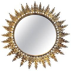 20th Century Peruvian Gilt Metal Sunburst Mirror with Leaf Pattern