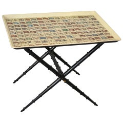 20th Century Piero Fornasetti Low Table with top theme Flags of 1960s