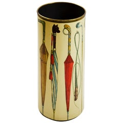 20th Century Piero Fornasetti Umbrella Stand Theme Umbrellas in Metal and Brass
