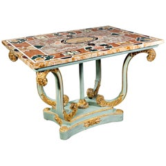 20th Century Pietra Dura Table Massive Beechwood