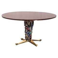 20th Century Pietro Melandri & Melchiorre Bega Round Wood and Ceramic Table