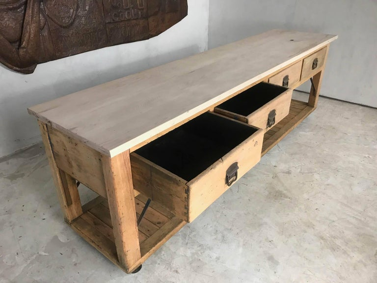20th Century Pine And Beech Baker S Table Kitchen Island