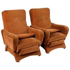 20th Century Pink Velvet Italian Zanuso Style Design Armchairs, 1970