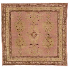 20th Century Pink Wool Turkish Ushak Central Western Anatolia Rug, 1900s