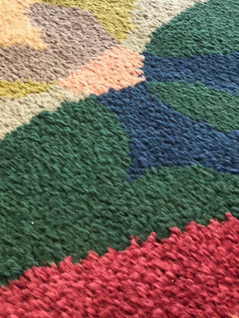20th Century Pink Yellow Blu Green Flowers Giacomo Balla Designed Rug, 1987 For Sale 5