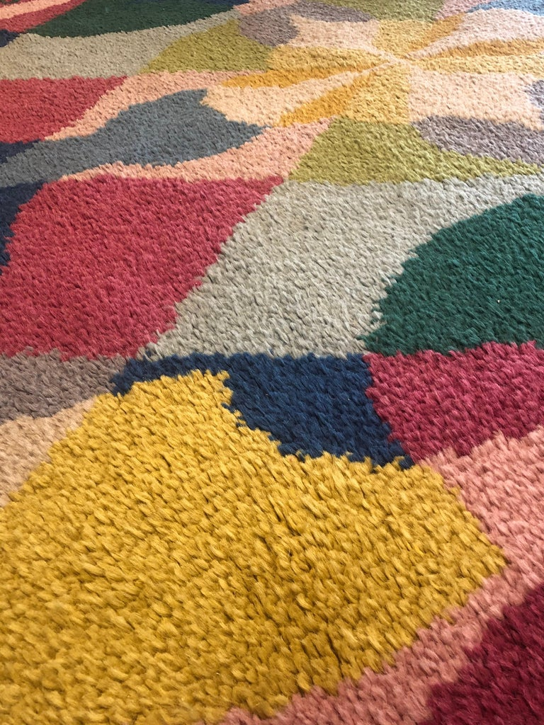 20th Century Pink Yellow Blu Green Flowers Giacomo Balla Designed Rug, 1987 For Sale 6