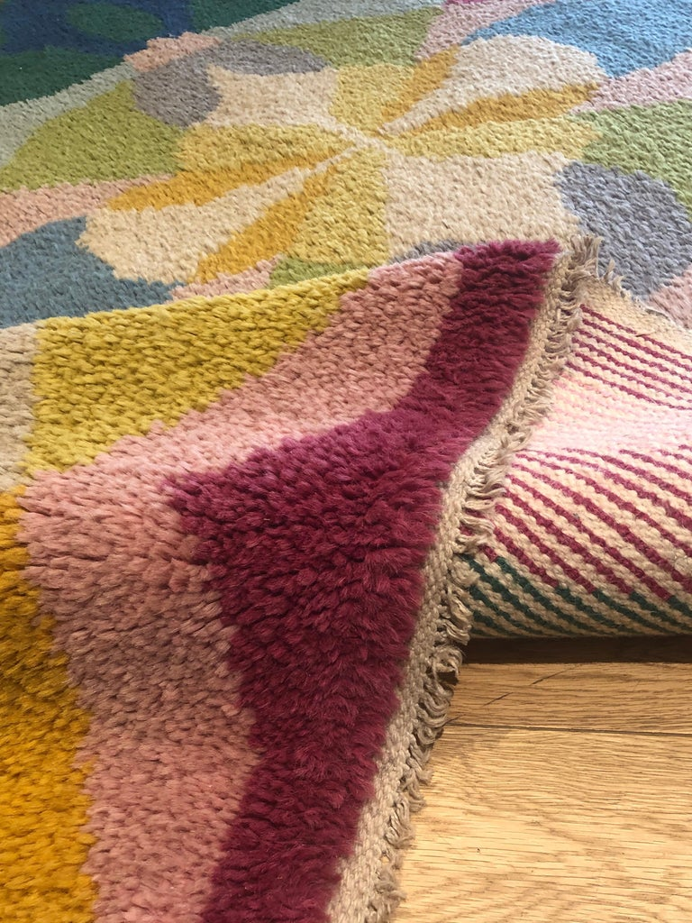 20th Century Pink Yellow Blu Green Flowers Giacomo Balla Designed Rug, 1987 For Sale 7