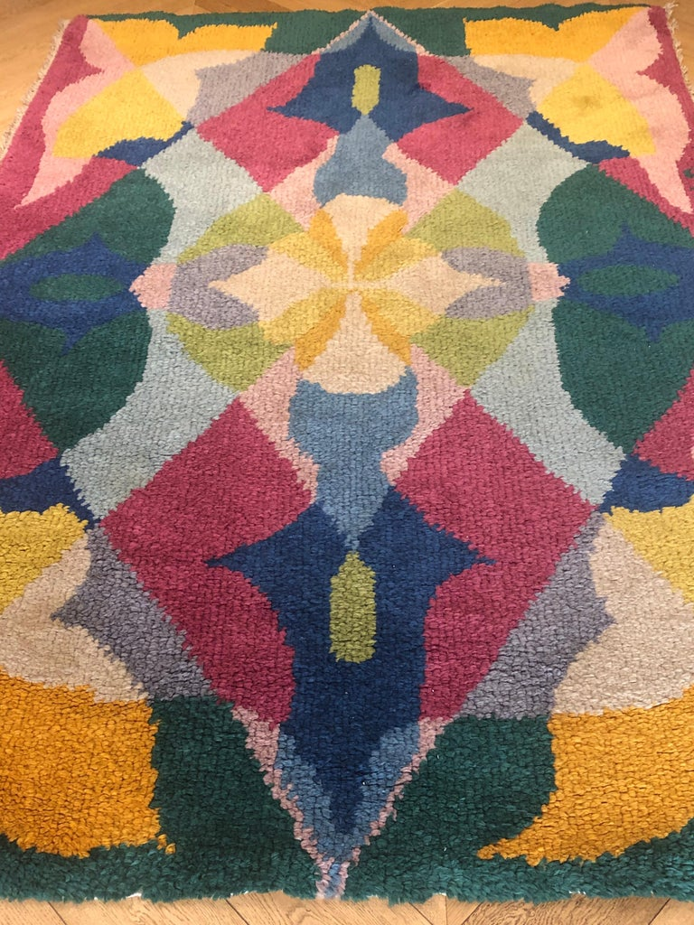 Hand-Knotted 20th Century Pink Yellow Blu Green Flowers Giacomo Balla Designed Rug, 1987 For Sale
