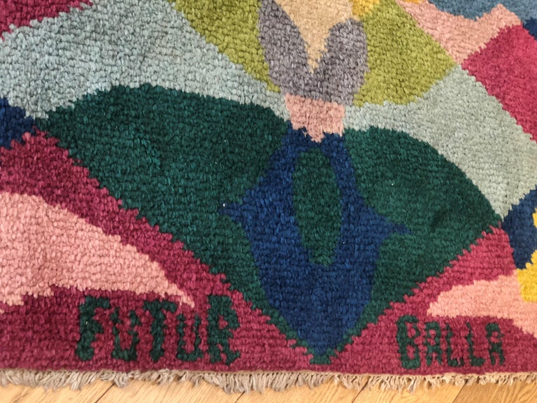 20th Century Pink Yellow Blu Green Flowers Giacomo Balla Designed Rug, 1987 For Sale 2