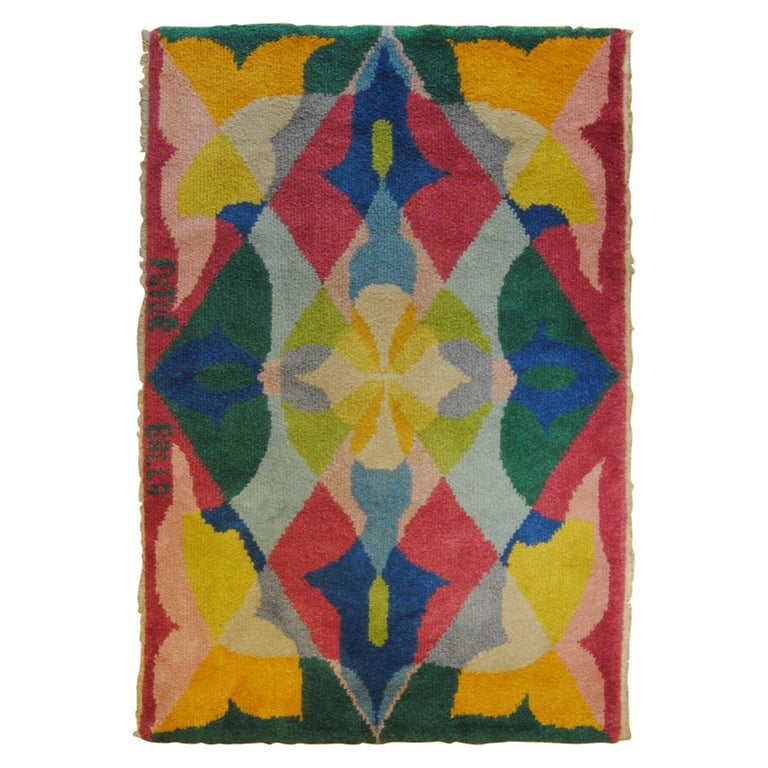 20th Century Pink Yellow Blu Green Flowers Giacomo Balla Designed Rug, 1987 For Sale