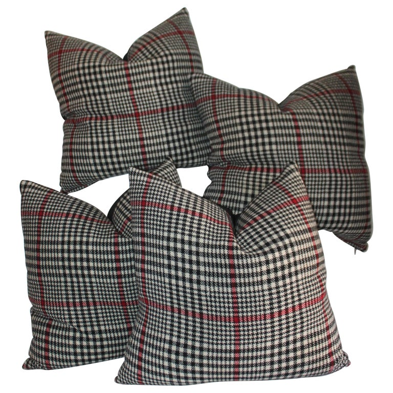 20th Century Plaid Pillows, Set of Four For Sale