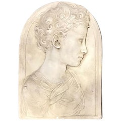 20th Century Plaster Plaque of Bust of Youth