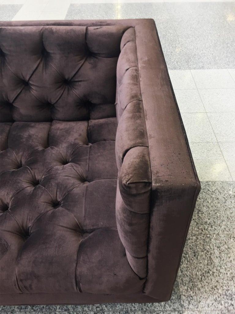 20th Century Plum Velvet Chesterfield Sofa For Sale 3