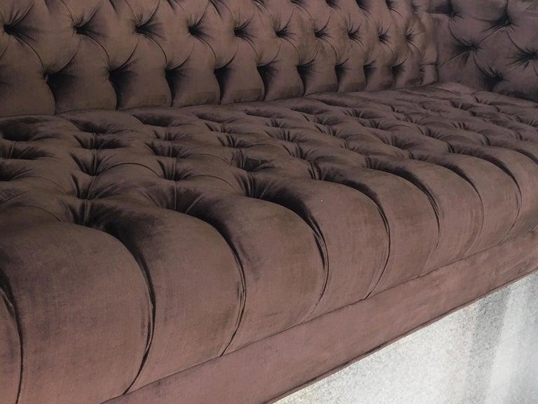 20th Century Plum Velvet Chesterfield Sofa For Sale 4