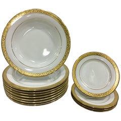 20th Century Porcelain & 22-Karat Gold Dinnerware S/13 By, Royal Gallery
