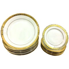 20th Century Porcelain & 22K Gold Dinnerware Set of 14 Pieces By Royal Gallery