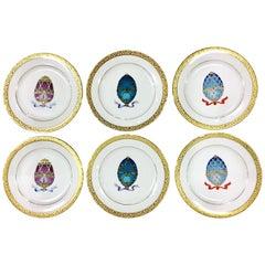 20th Century Porcelain Hand-Painted 22-Karat Gold Salad-Dessert Plates S/6