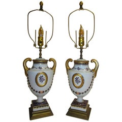 20th Century Porcelain Lamp Pair by Mottahedeh