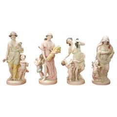"20th Century Porcelain Sculpture Hand Painted ""the Four Seasons"" by Capodimonte"