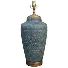 20th Century Pottery Vase as Lamp on Custom Gilt Base