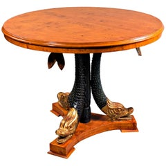 20th Century Primal Table with Carved Dolphins in the Empire Style